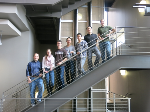 Lehigh University Vicic Lab - Students with Professor on Steps stairs